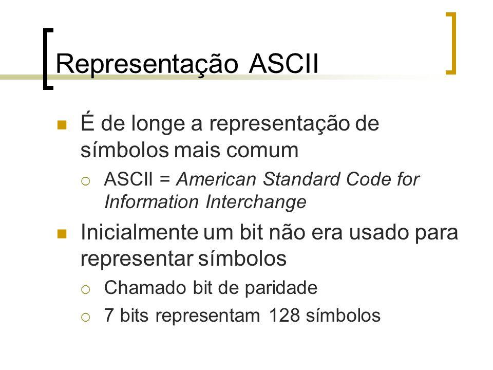 Representação ASCII É de longe a representação de símbolos mais comum  ASCII = American Standard Code for Information Interchange Inicialmente um bit não era usado para representar símbolos  Chamado bit de paridade  7 bits representam 128 símbolos