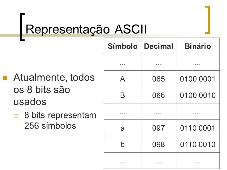 Representação ASCII Atualmente, todos os 8 bits são usados  8 bits representam 256 símbolos SímboloDecimalBinário...
