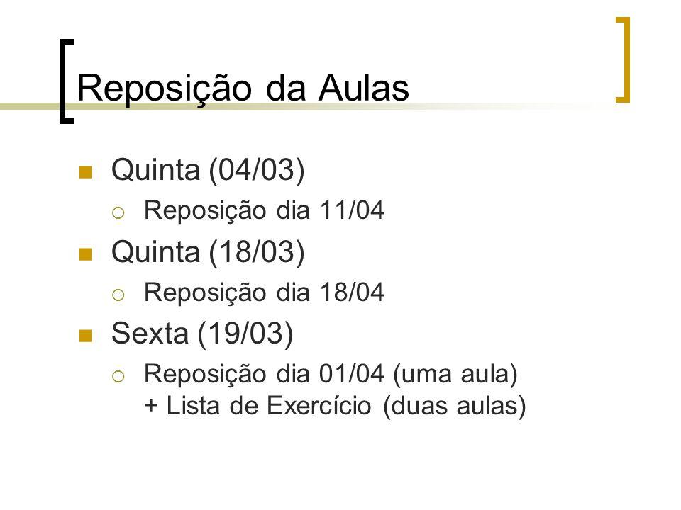 Reposição da Aulas Quinta (04/03)  Reposição dia 11/04 Quinta (18/03)  Reposição dia 18/04 Sexta (19/03)  Reposição dia 01/04 (uma aula) + Lista de Exercício (duas aulas)