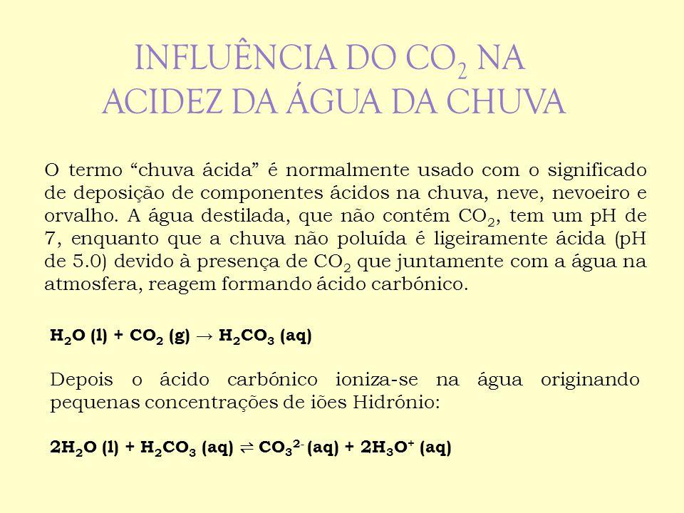 """O termo """"chuva ácida"""" é normalmente usado com o significado de deposição de componentes ácidos na chuva, neve, nevoeiro e orvalho. A água destilada, q"""