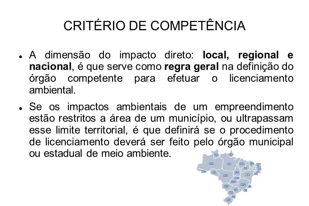 CRITÉRIO DE COMPETÊNCIA A dimensão do impacto direto: local, regional e nacional, é que serve como regra geral na definição do órgão competente para e