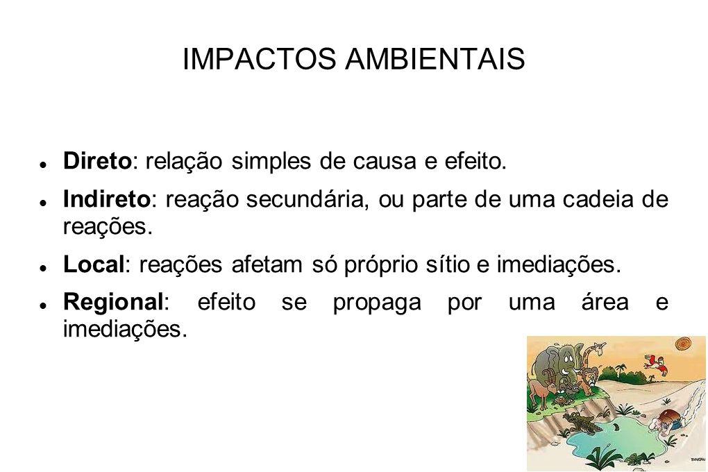 IMPACTOS AMBIENTAIS Direto: relação simples de causa e efeito. Indireto: reação secundária, ou parte de uma cadeia de reações. Local: reações afetam s