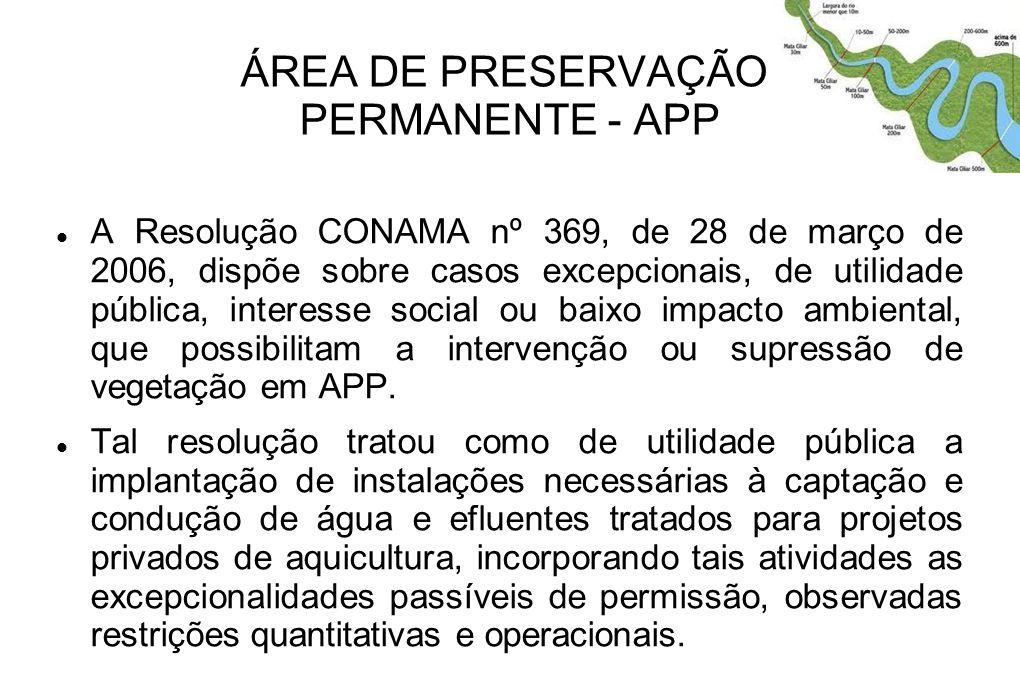 ÁREA DE PRESERVAÇÃO PERMANENTE - APP A Resolução CONAMA nº 369, de 28 de março de 2006, dispõe sobre casos excepcionais, de utilidade pública, interes