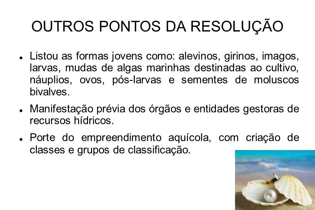 OUTROS PONTOS DA RESOLUÇÃO Potencial de severidade das espécies.