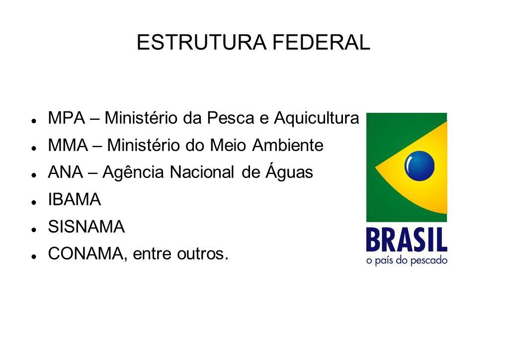 ESTRUTURA FEDERAL MPA – Ministério da Pesca e Aquicultura MMA – Ministério do Meio Ambiente ANA – Agência Nacional de Águas IBAMA SISNAMA CONAMA, entr