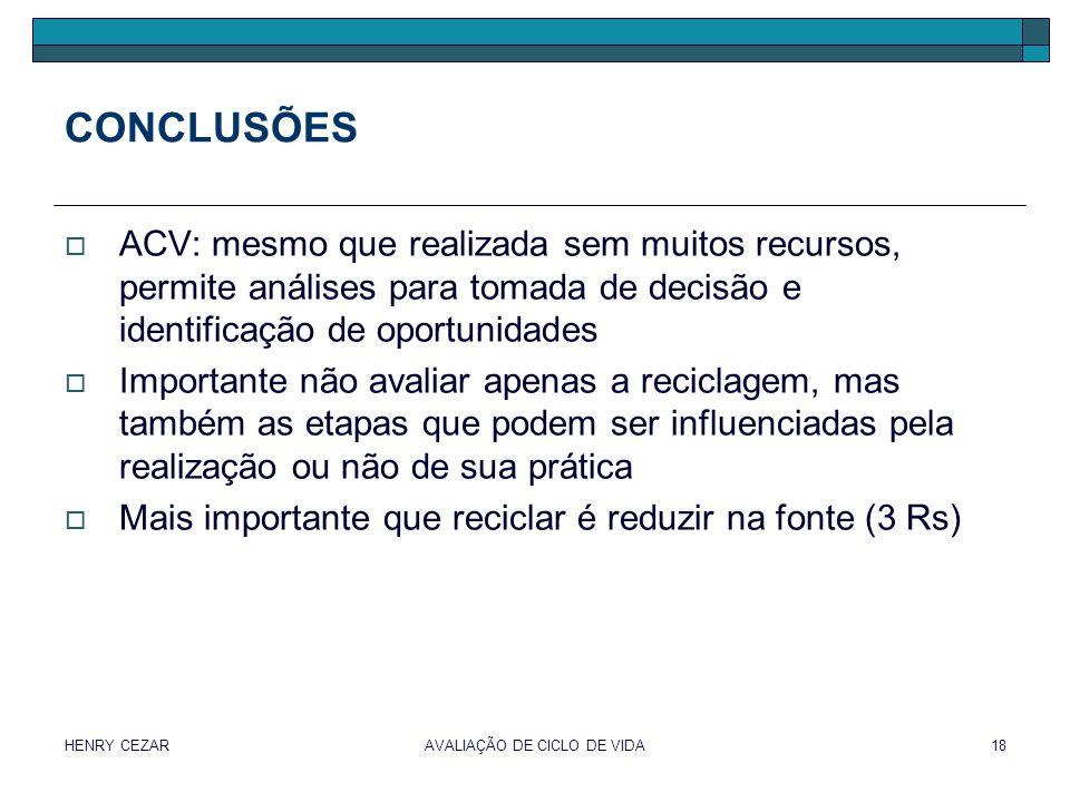 HENRY CEZARAVALIAÇÃO DE CICLO DE VIDA18 CONCLUSÕES  ACV: mesmo que realizada sem muitos recursos, permite análises para tomada de decisão e identific