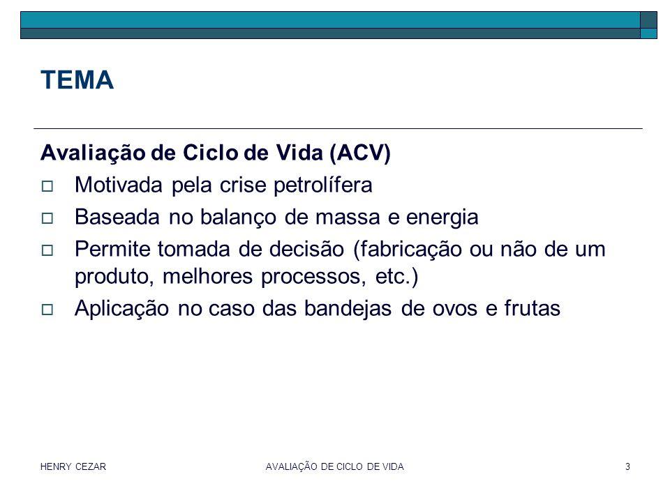 HENRY CEZARAVALIAÇÃO DE CICLO DE VIDA3 TEMA Avaliação de Ciclo de Vida (ACV)  Motivada pela crise petrolífera  Baseada no balanço de massa e energia