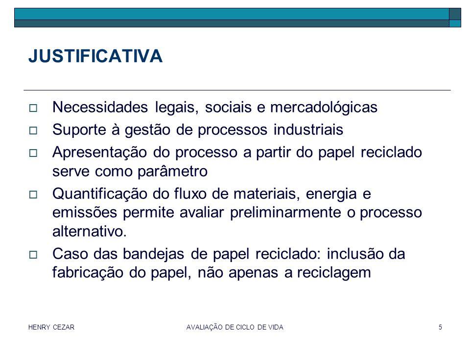 HENRY CEZARAVALIAÇÃO DE CICLO DE VIDA5 JUSTIFICATIVA  Necessidades legais, sociais e mercadológicas  Suporte à gestão de processos industriais  Apr