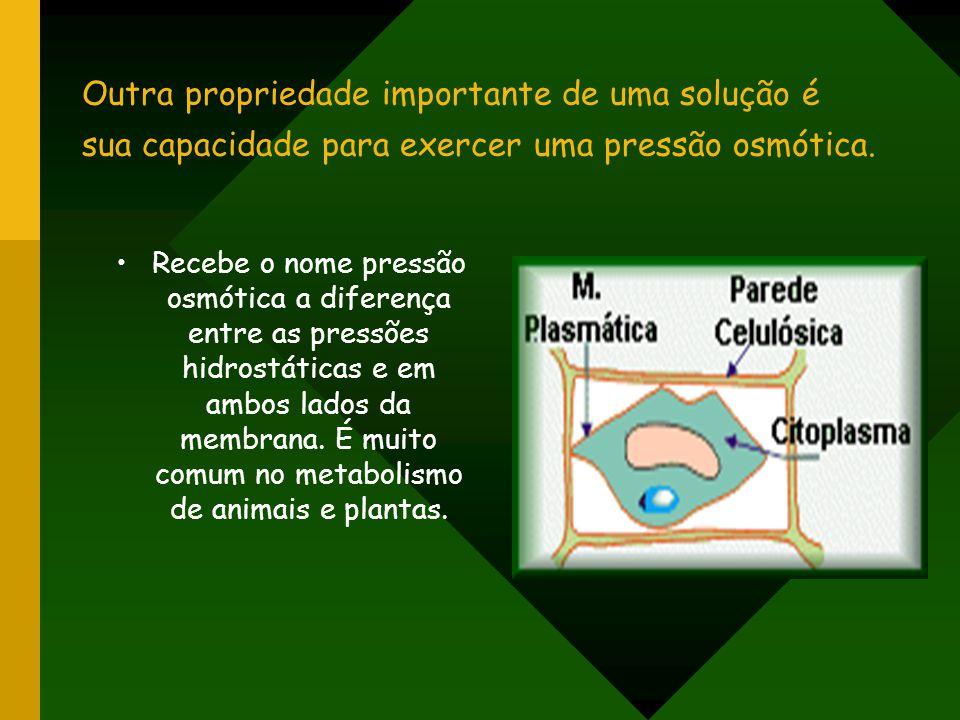 Outra propriedade importante de uma solução é sua capacidade para exercer uma pressão osmótica. Recebe o nome pressão osmótica a diferença entre as pr