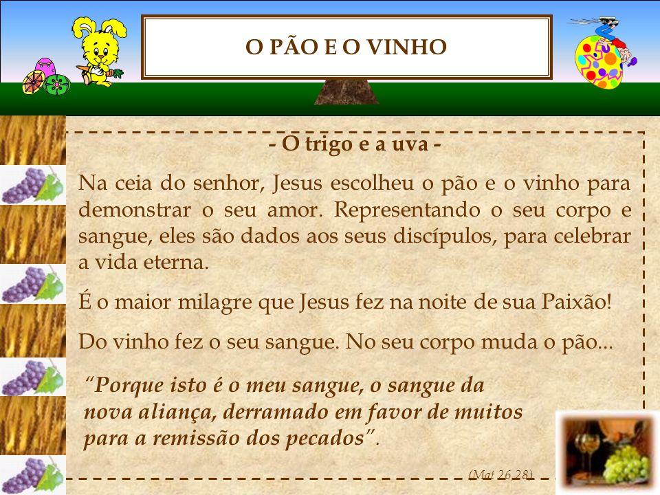 O PÃO E O VINHO - O trigo e a uva - Na ceia do senhor, Jesus escolheu o pão e o vinho para demonstrar o seu amor.