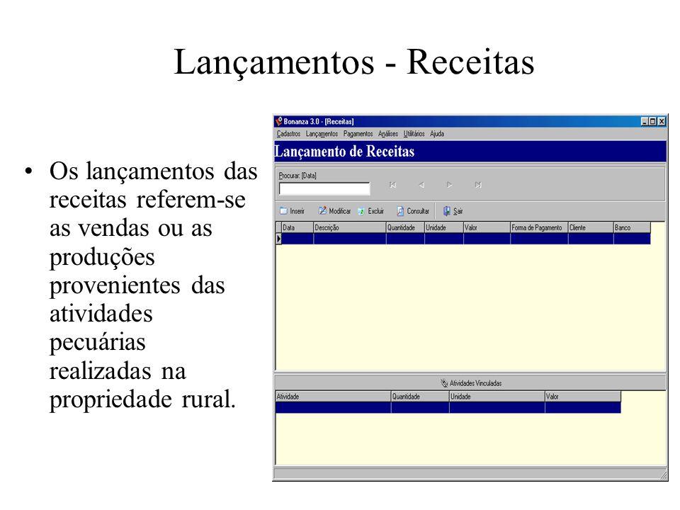 Lançamentos - Receitas Os lançamentos das receitas referem-se as vendas ou as produções provenientes das atividades pecuárias realizadas na propriedad