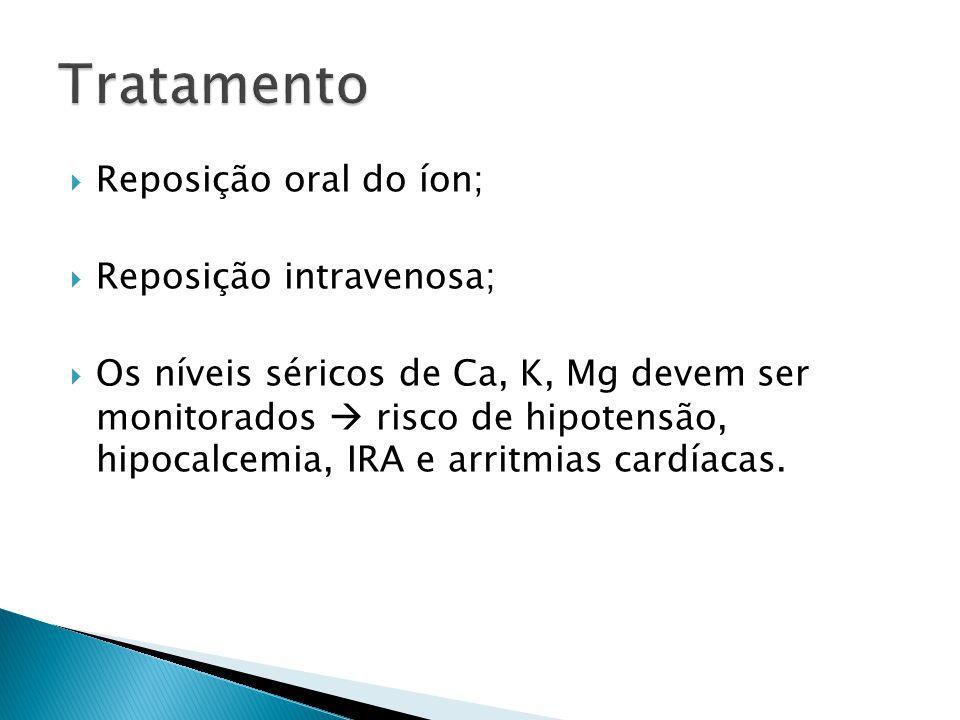  Reposição oral do íon;  Reposição intravenosa;  Os níveis séricos de Ca, K, Mg devem ser monitorados  risco de hipotensão, hipocalcemia, IRA e arritmias cardíacas.