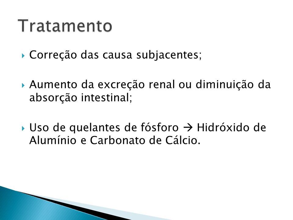  Correção das causa subjacentes;  Aumento da excreção renal ou diminuição da absorção intestinal;  Uso de quelantes de fósforo  Hidróxido de Alumínio e Carbonato de Cálcio.