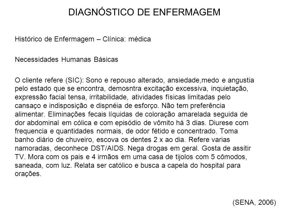 DIAGNÓSTICO DE ENFERMAGEM Histórico de Enfermagem – Clínica: médica Necessidades Humanas Básicas O cliente refere (SIC): Sono e repouso alterado, ansi