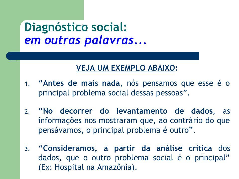 """Diagnóstico social: em outras palavras... VEJA UM EXEMPLO ABAIXO: 1. """"Antes de mais nada, nós pensamos que esse é o principal problema social dessas p"""