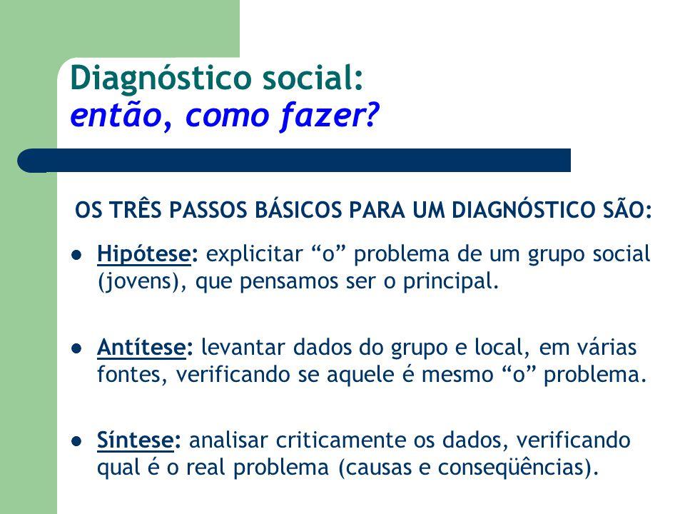 """Diagnóstico social: então, como fazer? OS TRÊS PASSOS BÁSICOS PARA UM DIAGNÓSTICO SÃO: Hipótese: explicitar """"o"""" problema de um grupo social (jovens),"""