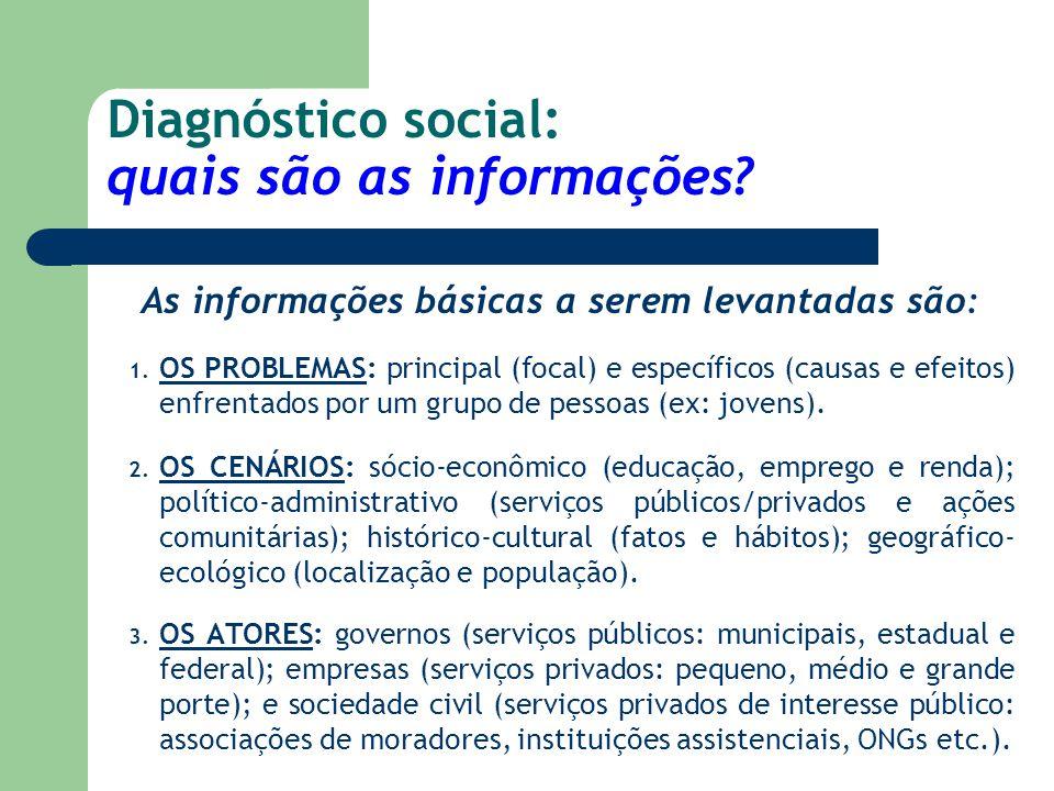 Diagnóstico social: quais são as informações? As informações básicas a serem levantadas são: 1. OS PROBLEMAS: principal (focal) e específicos (causas