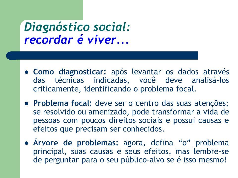 Diagnóstico social: recordar é viver... Como diagnosticar: após levantar os dados através das técnicas indicadas, você deve analisá-los criticamente,