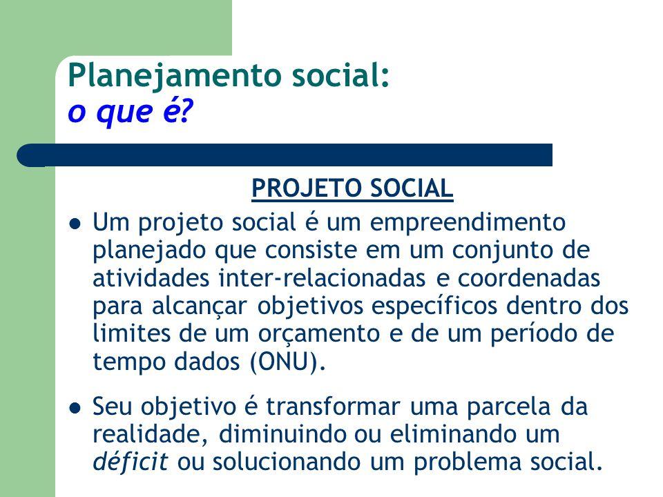 Planejamento social: o que é? PROJETO SOCIAL Um projeto social é um empreendimento planejado que consiste em um conjunto de atividades inter-relaciona