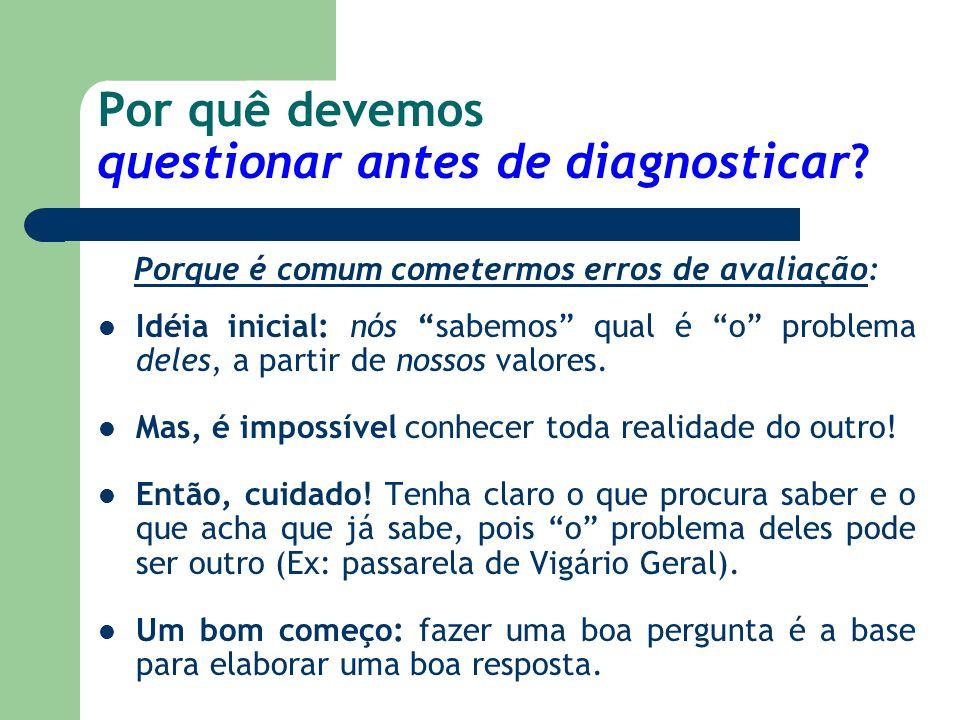 """Por quê devemos questionar antes de diagnosticar? Porque é comum cometermos erros de avaliação: Idéia inicial: nós """"sabemos"""" qual é """"o"""" problema deles"""