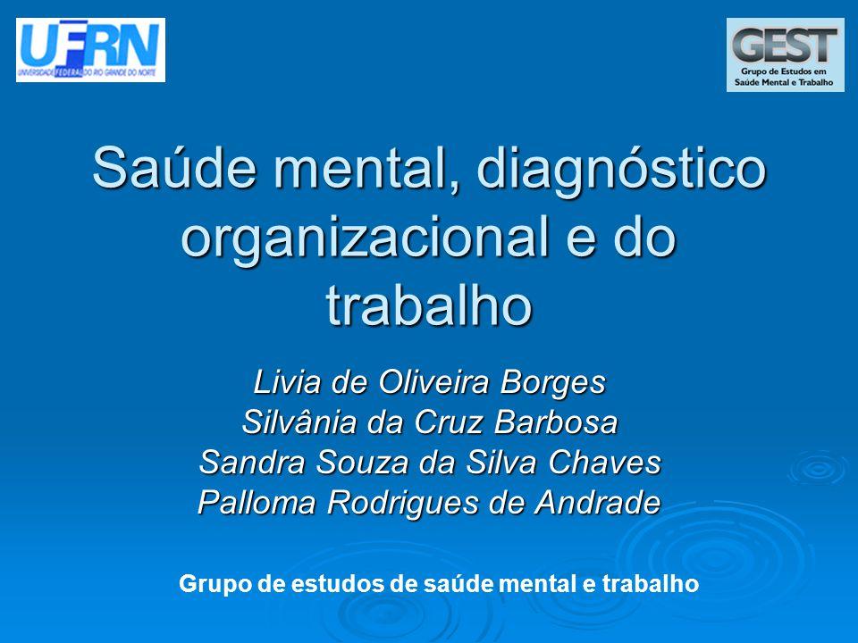 Saúde mental, diagnóstico organizacional e do trabalho Livia de Oliveira Borges Silvânia da Cruz Barbosa Sandra Souza da Silva Chaves Palloma Rodrigue