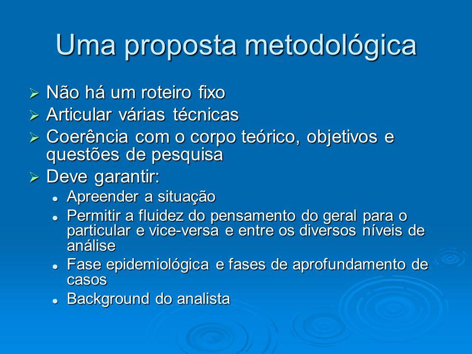Uma proposta metodológica  Não há um roteiro fixo  Articular várias técnicas  Coerência com o corpo teórico, objetivos e questões de pesquisa  Dev