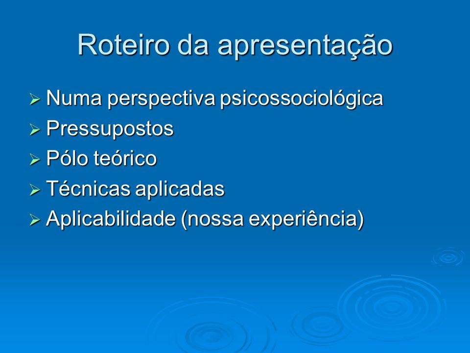 Roteiro da apresentação  Numa perspectiva psicossociológica  Pressupostos  Pólo teórico  Técnicas aplicadas  Aplicabilidade (nossa experiência)