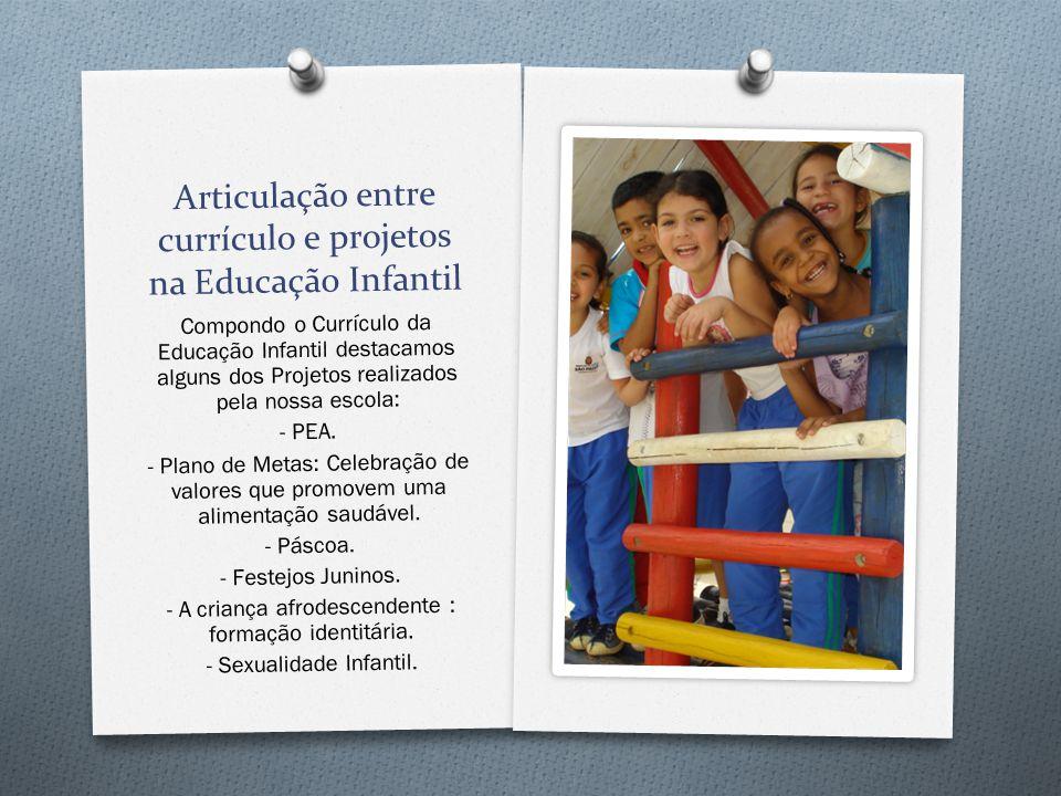 Articulação entre currículo e projetos na Educação Infantil Compondo o Currículo da Educação Infantil destacamos alguns dos Projetos realizados pela n