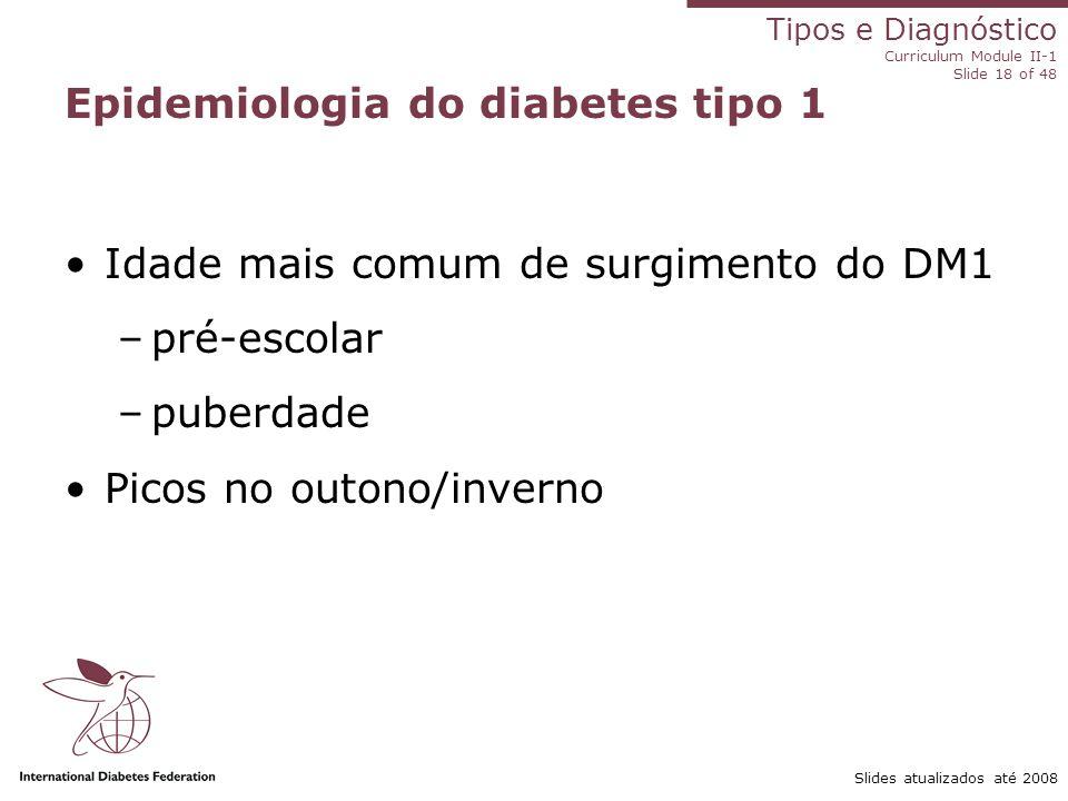 Tipos e Diagnóstico Curriculum Module II-1 Slide 18 of 48 Slides atualizados até 2008 Idade mais comum de surgimento do DM1 –pré-escolar –puberdade Pi