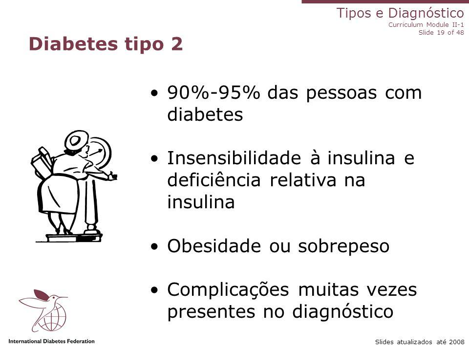 Tipos e Diagnóstico Curriculum Module II-1 Slide 19 of 48 Slides atualizados até 2008 Diabetes tipo 2 90%-95% das pessoas com diabetes Insensibilidade