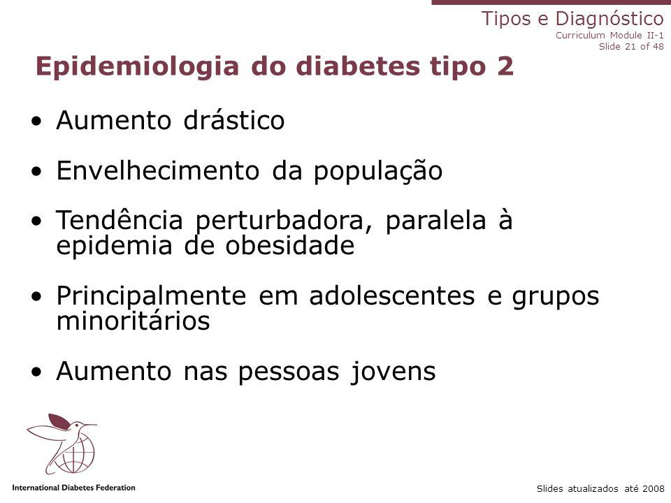Tipos e Diagnóstico Curriculum Module II-1 Slide 21 of 48 Slides atualizados até 2008 Epidemiologia do diabetes tipo 2 Aumento drástico Envelhecimento