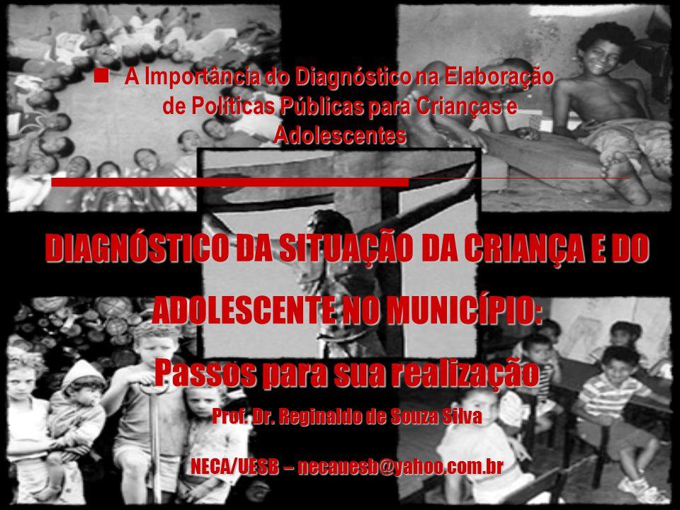 DIAGNÓSTICO DA SITUAÇÃO DA CRIANÇA E DO ADOLESCENTE NO MUNICÍPIO: Passos para sua realização Prof. Dr. Reginaldo de Souza Silva NECA/UESB – necauesb@y