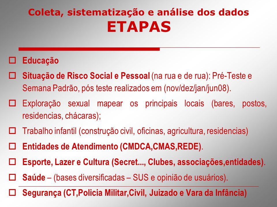 Coleta, sistematização e análise dos dados ETAPAS  Educação  Situação de Risco Social e Pessoal (na rua e de rua): Pré-Teste e Semana Padrão, pós te