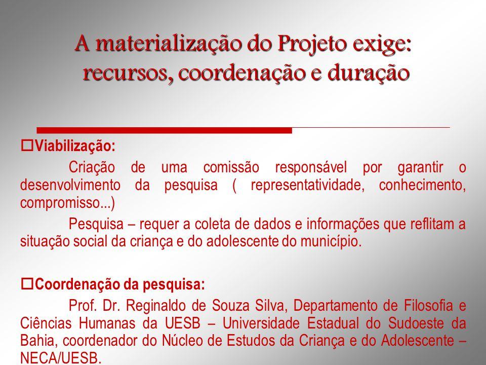 A materialização do Projeto exige: recursos, coordenação e duração recursos, coordenação e duração  Viabilização: Criação de uma comissão responsável