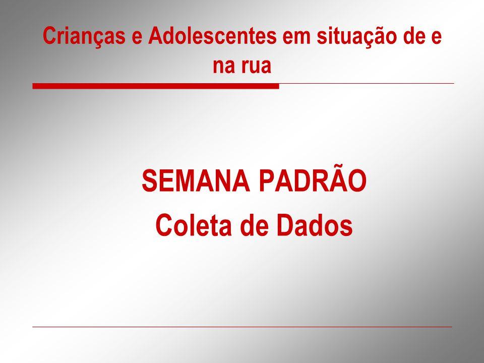 Crianças e Adolescentes em situação de e na rua SEMANA PADRÃO Coleta de Dados