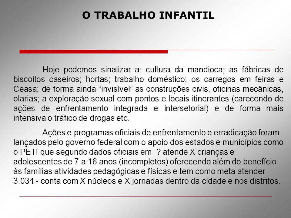 O TRABALHO INFANTIL Hoje podemos sinalizar a: cultura da mandioca; as fábricas de biscoitos caseiros; hortas; trabalho doméstico; os carregos em feira