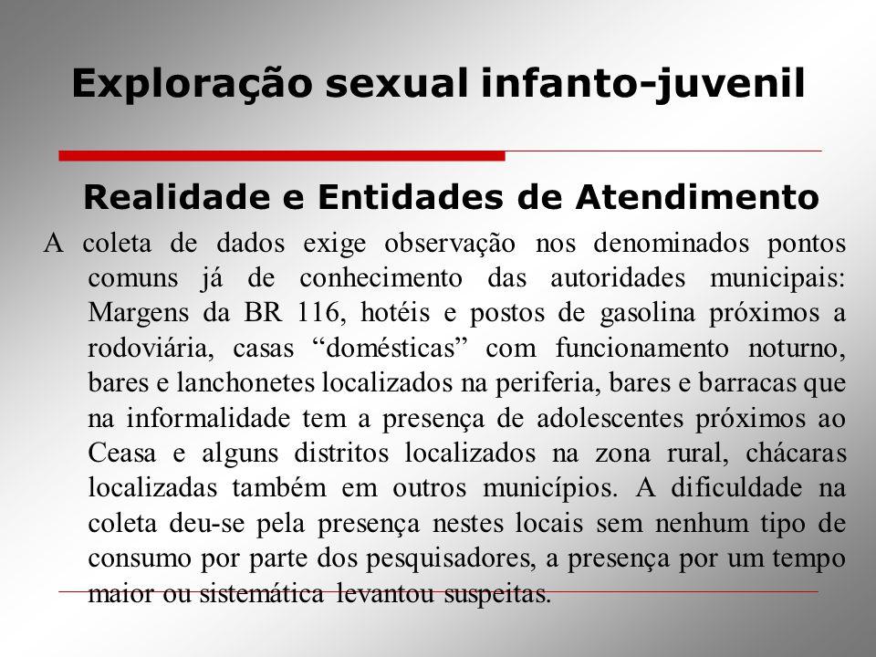 Exploração sexual infanto-juvenil Realidade e Entidades de Atendimento A coleta de dados exige observação nos denominados pontos comuns já de conhecim