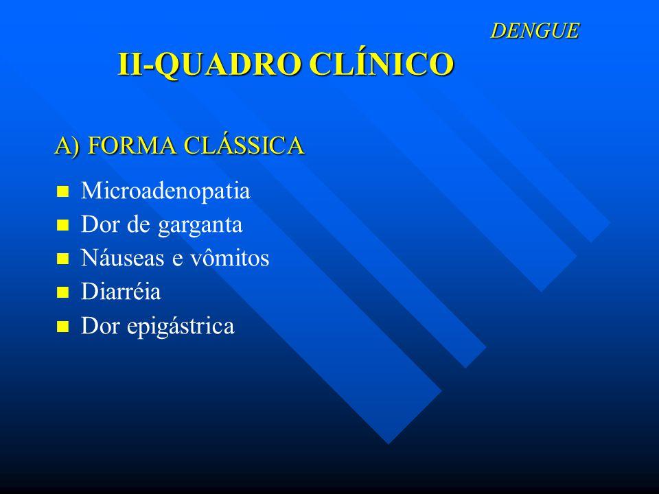 DENGUE II-QUADRO CLÍNICO DENGUE II-QUADRO CLÍNICO A) FORMA CLÁSSICA A) FORMA CLÁSSICA Microadenopatia Dor de garganta Náuseas e vômitos Diarréia Dor e