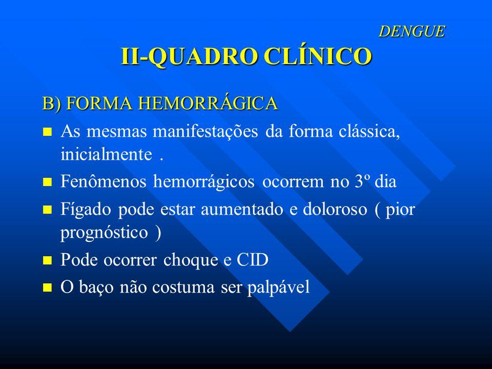 DENGUE II-QUADRO CLÍNICO DENGUE II-QUADRO CLÍNICO B) FORMA HEMORRÁGICA As mesmas manifestações da forma clássica, inicialmente. Fenômenos hemorrágicos