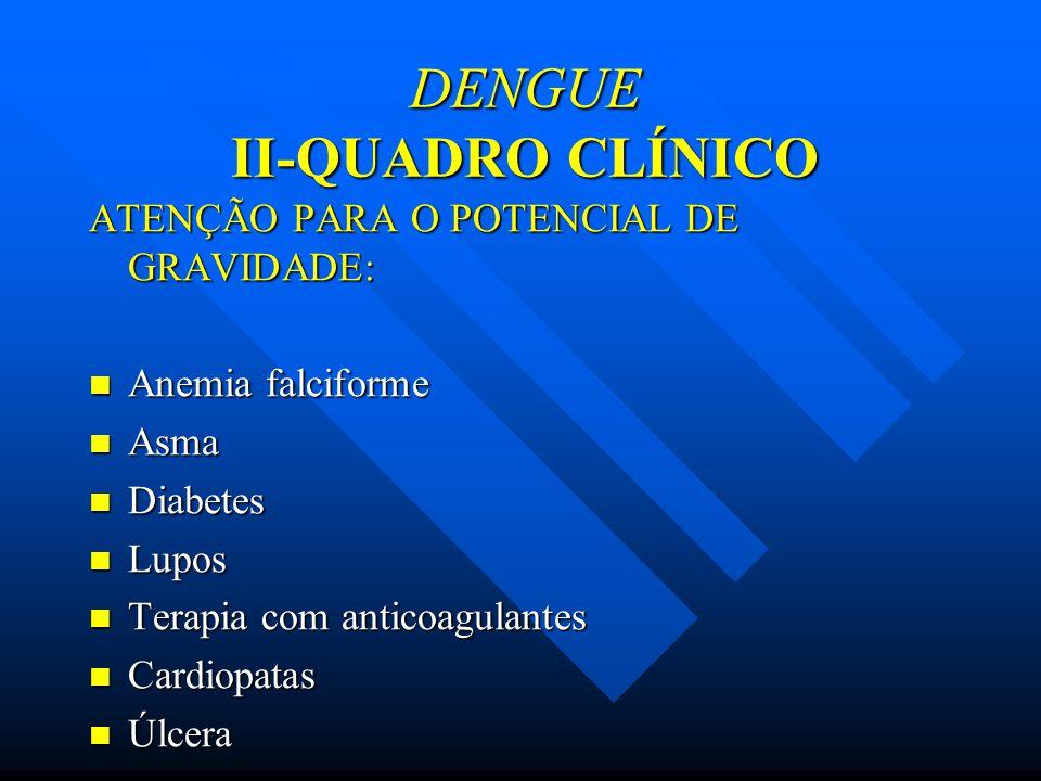 ATENÇÃO PARA O POTENCIAL DE GRAVIDADE: Anemia falciforme Anemia falciforme Asma Asma Diabetes Diabetes Lupos Lupos Terapia com anticoagulantes Terapia