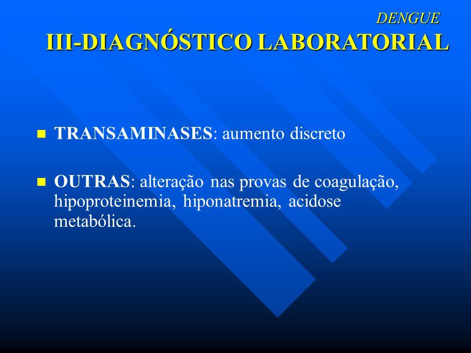 DENGUE III-DIAGNÓSTICO LABORATORIAL DENGUE III-DIAGNÓSTICO LABORATORIAL TRANSAMINASES: aumento discreto OUTRAS: alteração nas provas de coagulação, hi