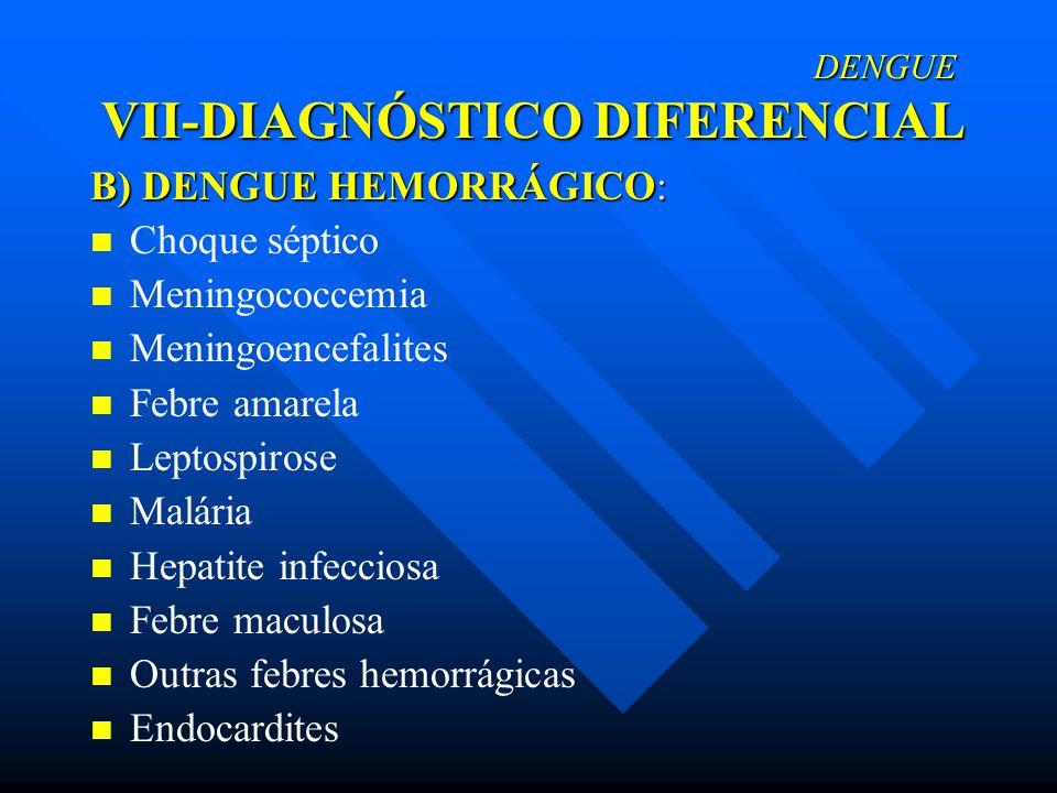 DENGUE VII-DIAGNÓSTICO DIFERENCIAL DENGUE VII-DIAGNÓSTICO DIFERENCIAL B) DENGUE HEMORRÁGICO: Choque séptico Meningococcemia Meningoencefalites Febre a