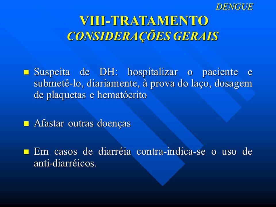 DENGUE VIII-TRATAMENTO CONSIDERAÇÕES GERAIS DENGUE VIII-TRATAMENTO CONSIDERAÇÕES GERAIS Suspeita de DH: hospitalizar o paciente e submetê-lo, diariame