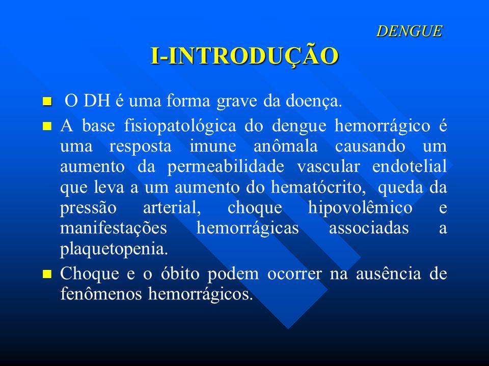 DENGUE I-INTRODUÇÃO DENGUE I-INTRODUÇÃO O DH é uma forma grave da doença. A base fisiopatológica do dengue hemorrágico é uma resposta imune anômala ca