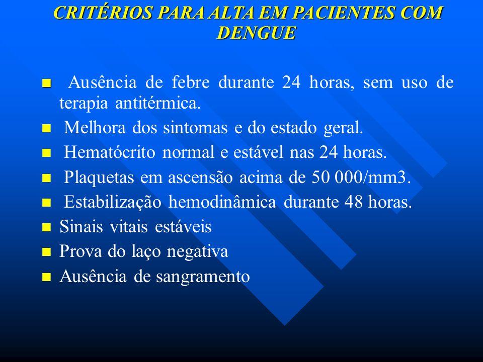 CRITÉRIOS PARA ALTA EM PACIENTES COM DENGUE Ausência de febre durante 24 horas, sem uso de terapia antitérmica. Melhora dos sintomas e do estado geral