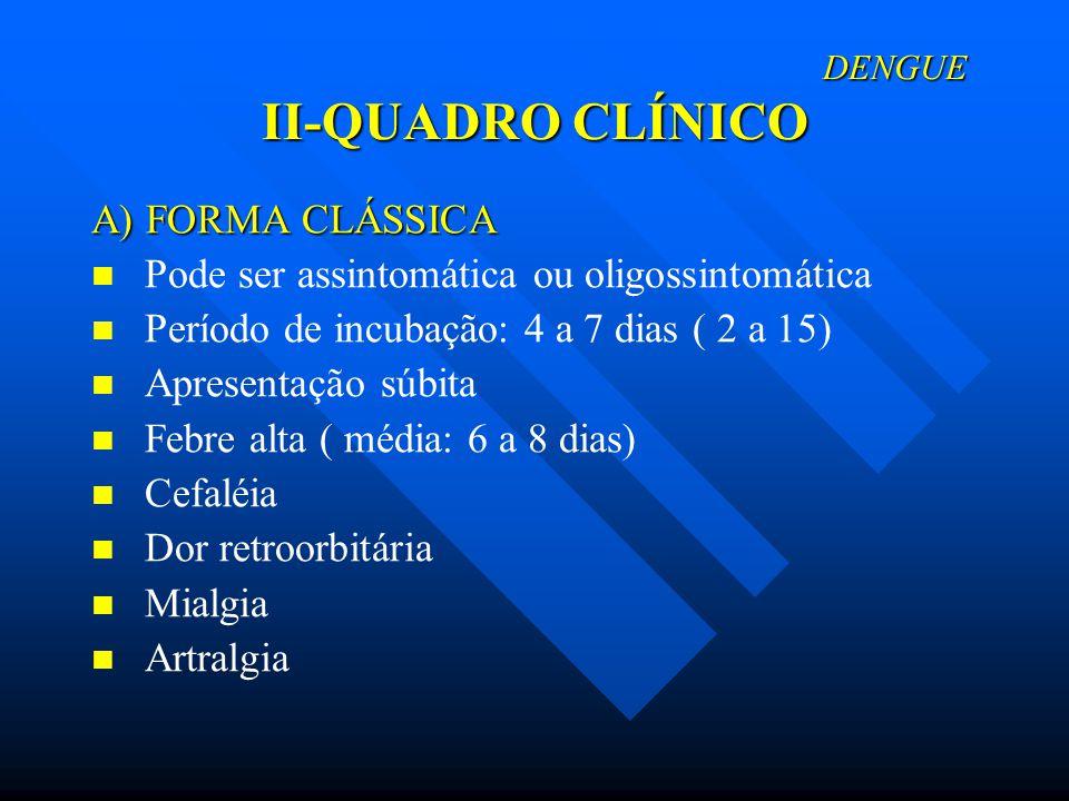 DENGUE II-QUADRO CLÍNICO DENGUE II-QUADRO CLÍNICO A) FORMA CLÁSSICA A) FORMA CLÁSSICA Microadenopatia Dor de garganta Náuseas e vômitos Diarréia Dor epigástrica