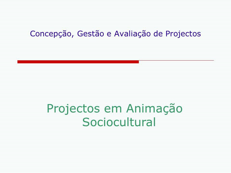 Concepção, Gestão e Avaliação de Projectos Projectos em Animação Sociocultural