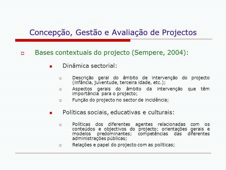 Concepção, Gestão e Avaliação de Projectos  Bases contextuais do projecto (Sempere, 2004): Dinâmica sectorial:  Descrição geral do âmbito de interve