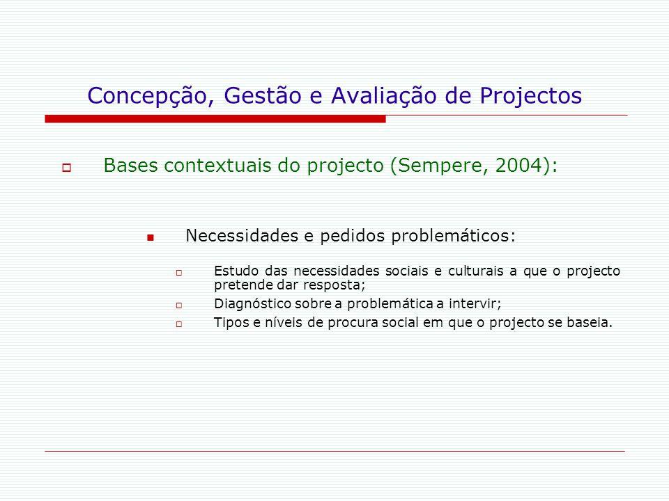 Concepção, Gestão e Avaliação de Projectos  Bases contextuais do projecto (Sempere, 2004): Necessidades e pedidos problemáticos:  Estudo das necessi