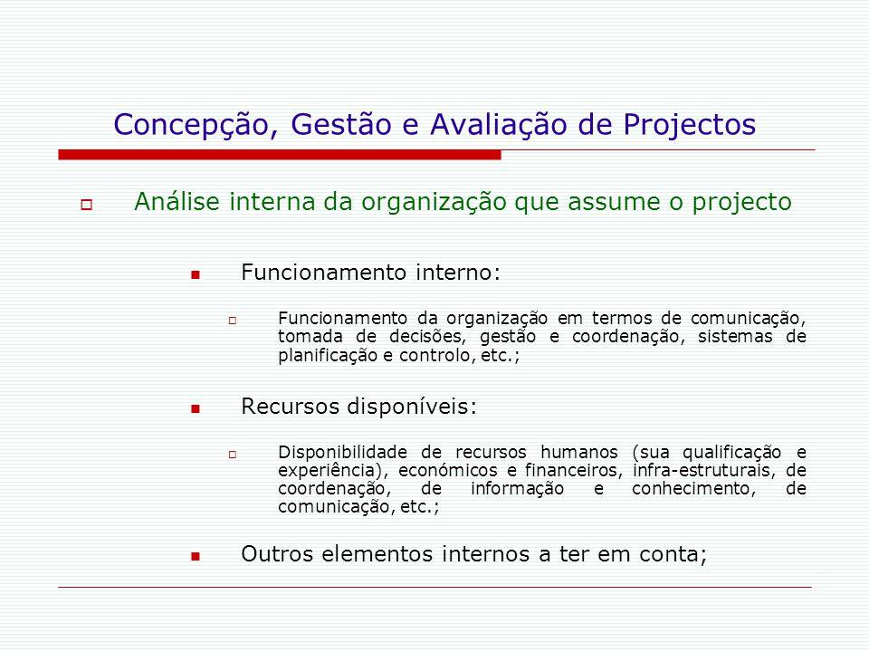 Concepção, Gestão e Avaliação de Projectos  Análise interna da organização que assume o projecto Funcionamento interno:  Funcionamento da organizaçã